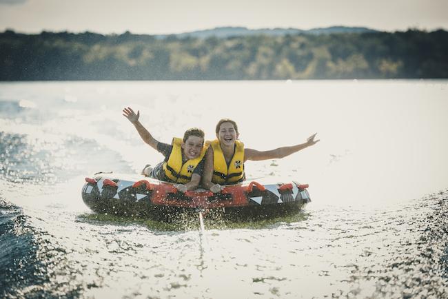 Girls tubing on Table Rock Lake