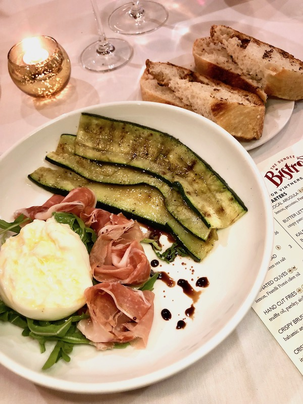 Dundee Bistro Burrata grilled aspargus, prosciutto di parma, Fratelli Ponzi olive oil, sea salt, house grilled bread