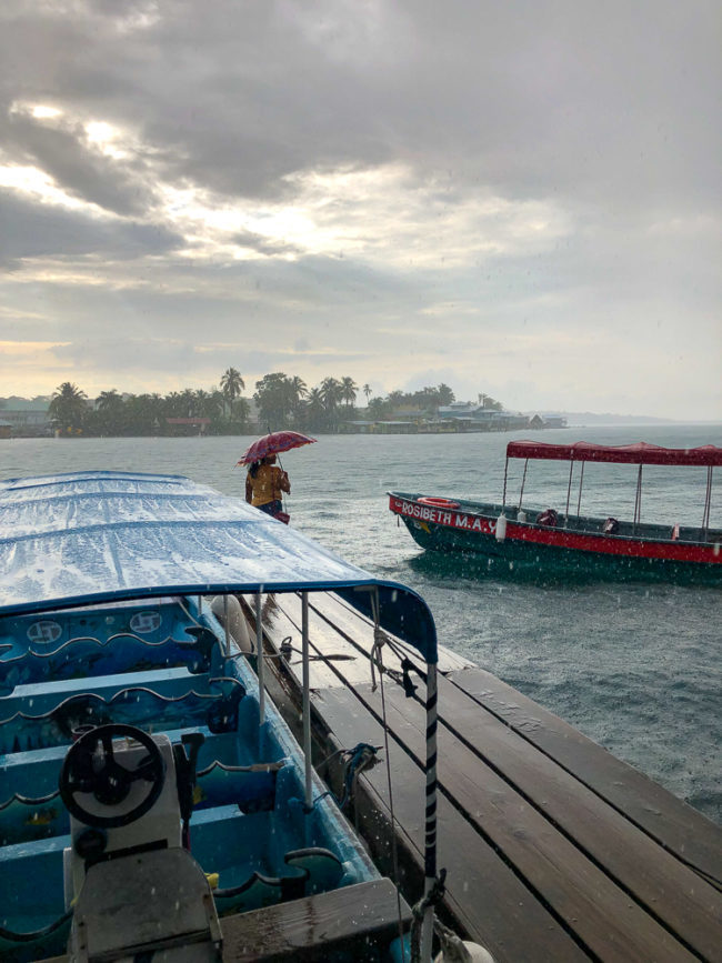 Water taxis on a ainy day in Bocas del Toro