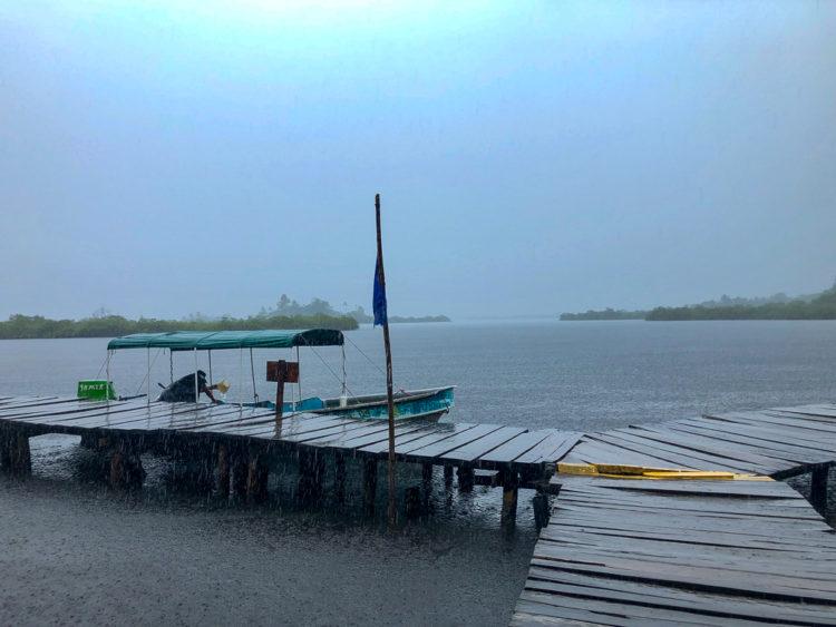 Water taxi in the rain in Bocas del Toro