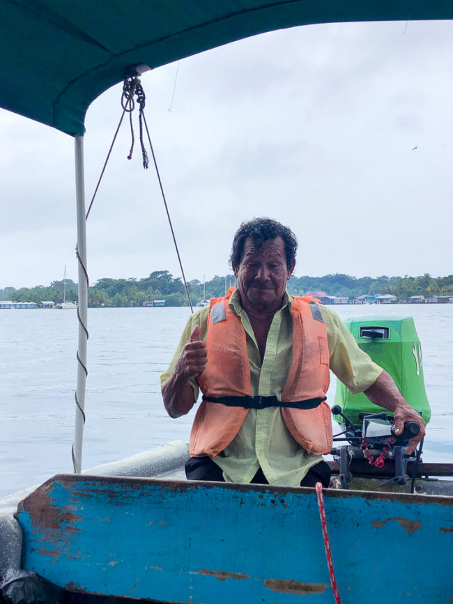 Water taxi boat captain on Bocas