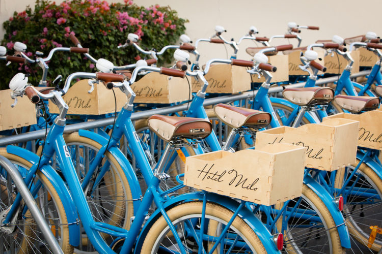Beach cruiser bikes at Hotel Milo, Santa Barbara