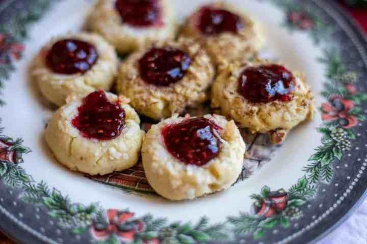 shortbread jam thumbprint cookies on plate
