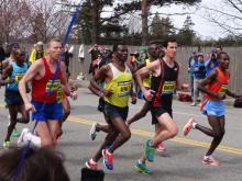 The front runners of The Boston Marathon