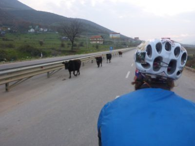 Traffic on the Albanian dual carriageway