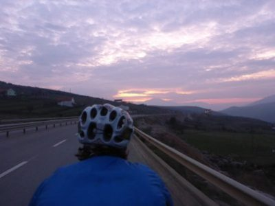 Sunset ride into Albania