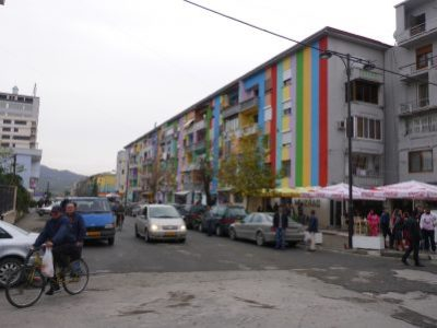 Coloured buildings in Fier