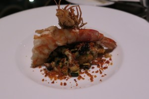 Poached pumpkin gnocchi with tiger prawn