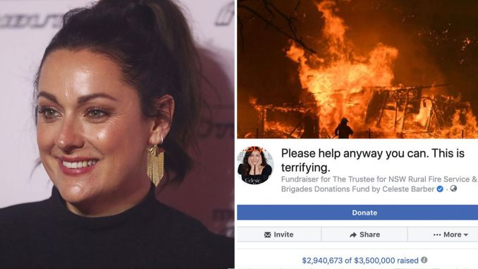 Australian comedian, Celeste Barber, has launched an online fundraiser that has raised more than $30 million for bushfire victims and firefighters.