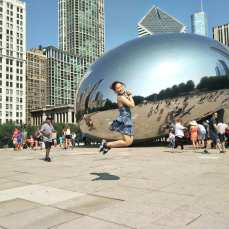 Tyra at the bean here in Millennium Park