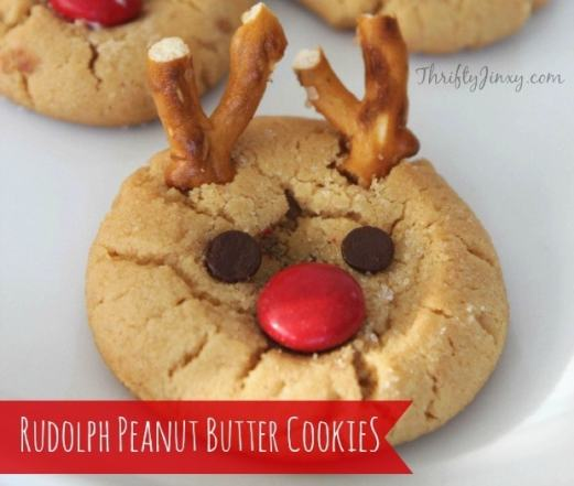 Easy Cookie Exchange Recipes: Rudolph Peanut Butter Cookies