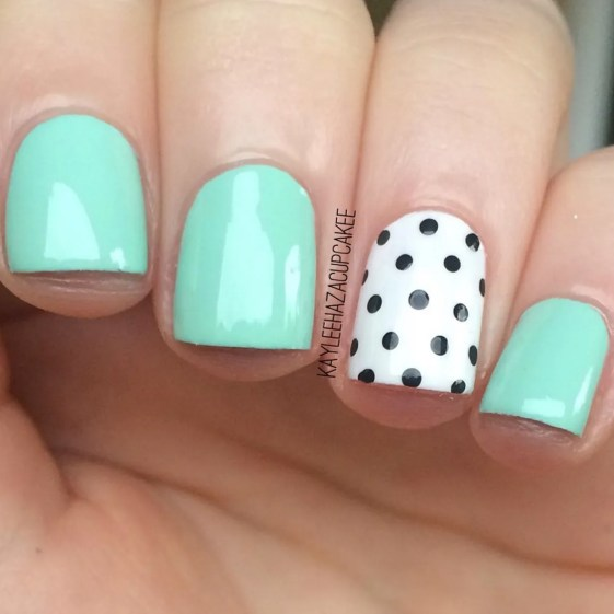 Gel Nail Designs and More: Mint Green Polka Dot Nail Art - 33 Gel Nail Designs That You Will Want To Copy Immediately