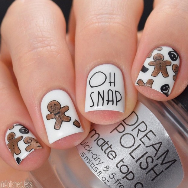 Winter Nail Designs: Gingerbread Christmas Nail Art