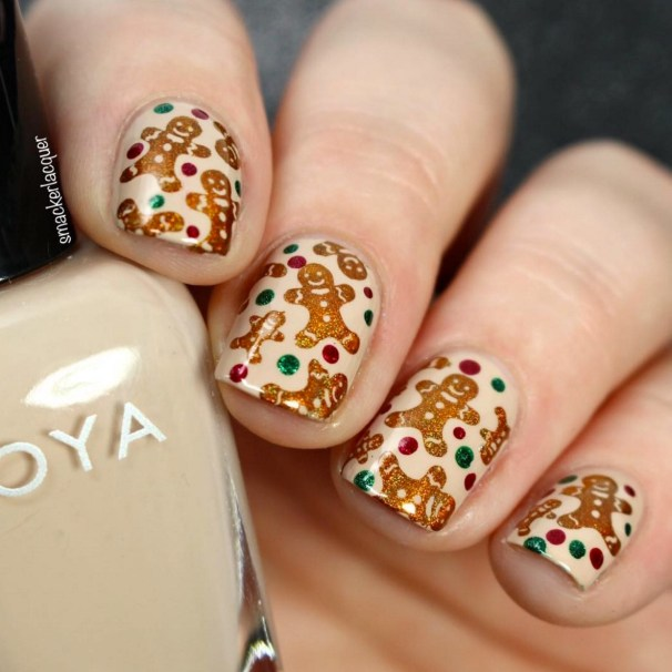Winter Nail Designs: Gingerbread Men Christmas Nail Art