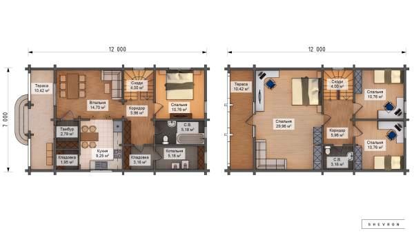 Проект деревянный дом, строительство дома из бруса, сруба D043