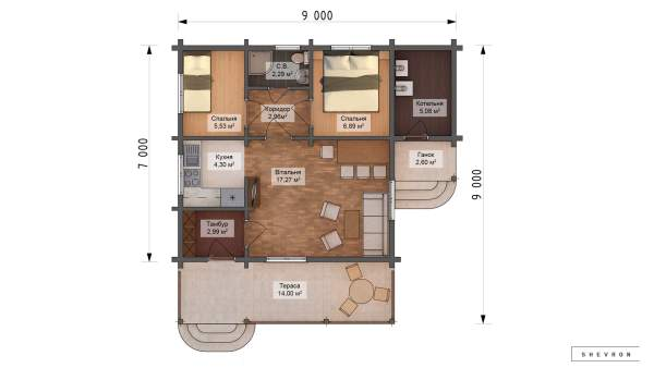 Проект деревянный дом, строительство дома из бруса, сруб. из дерева, деревянный дом цена план дома D060