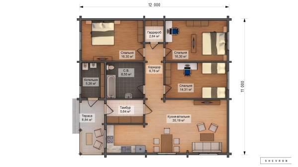 Проект деревянный дом, строительство дома из бруса, сруб. из дерева, деревянный дом цена план дома D062