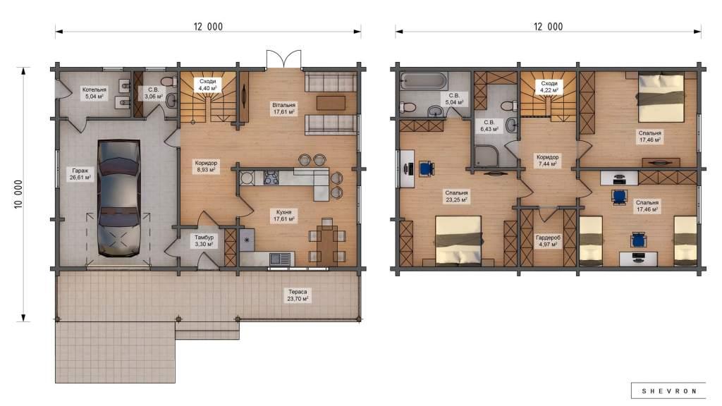 План Строительство деревянного дома по проекту Винница D013