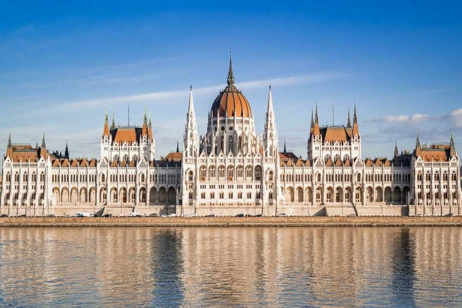 The Hungarian Parliament across the Danube river in Budapest