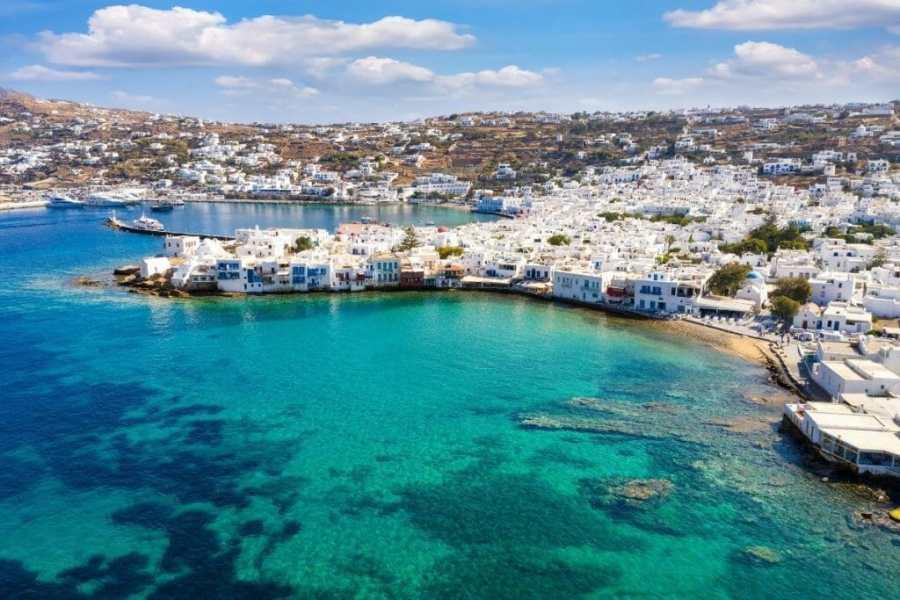Aeriel view of Mykonos Town, Greece