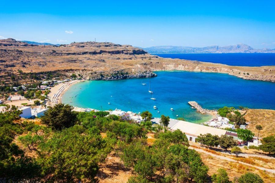 Lindos Beach on Rhodes, Greece