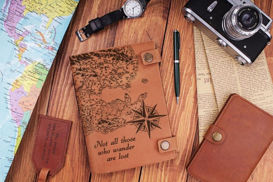 Leather World Map Journal