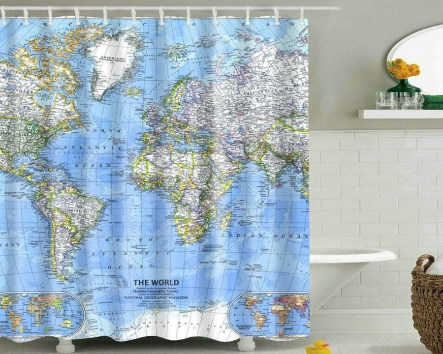 Ocean Map Shower Curtain