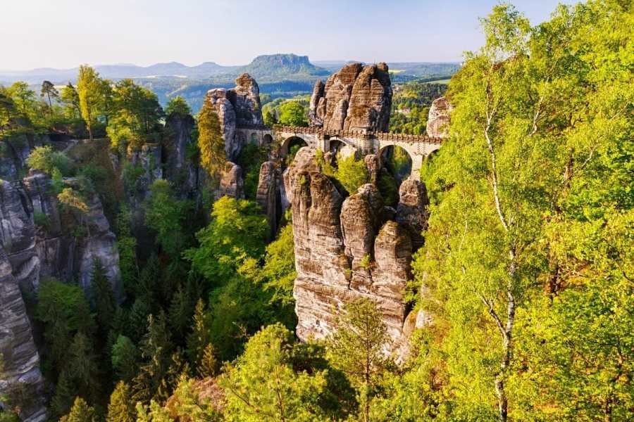 Bastei Bridge in Saxon Switzerland National Park, Germany