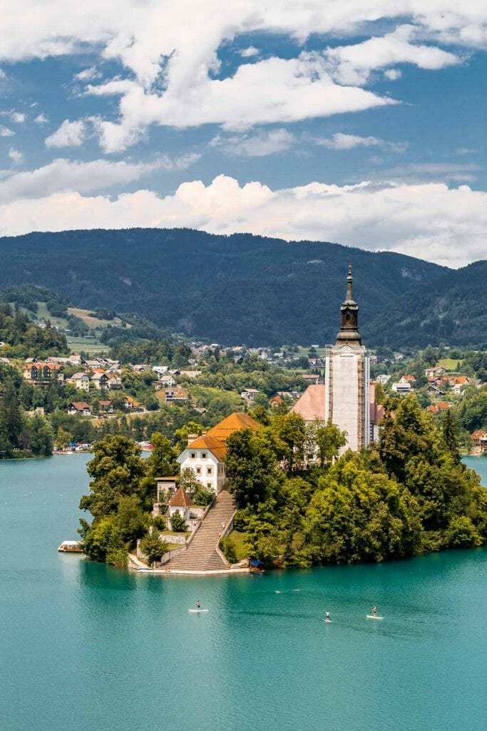 Island in the middle of Lake Bled, Slovenia