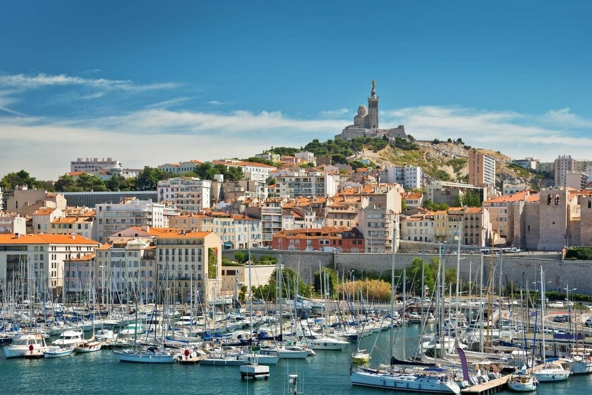 Panoramic view of the Old Port in Marseille, France