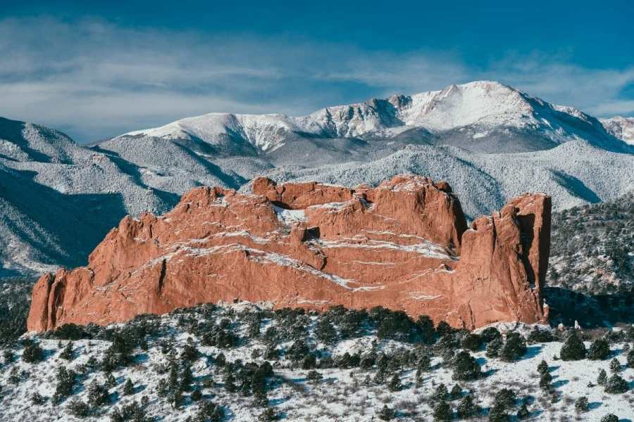Pikes Peak in Colorado Springs during winter in the USA