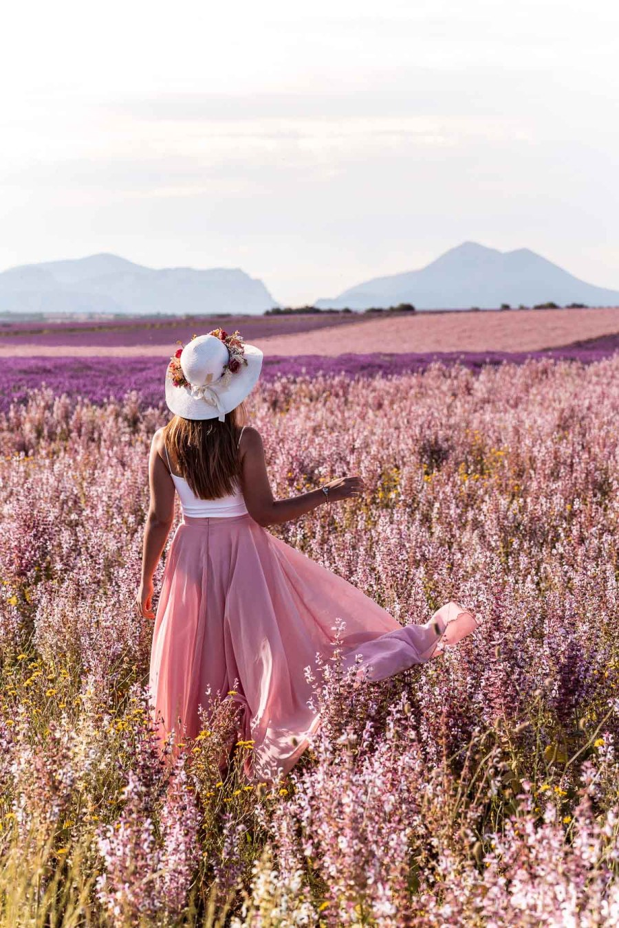 Girl in a pink skirt standing in the middle of a sage field in Provence