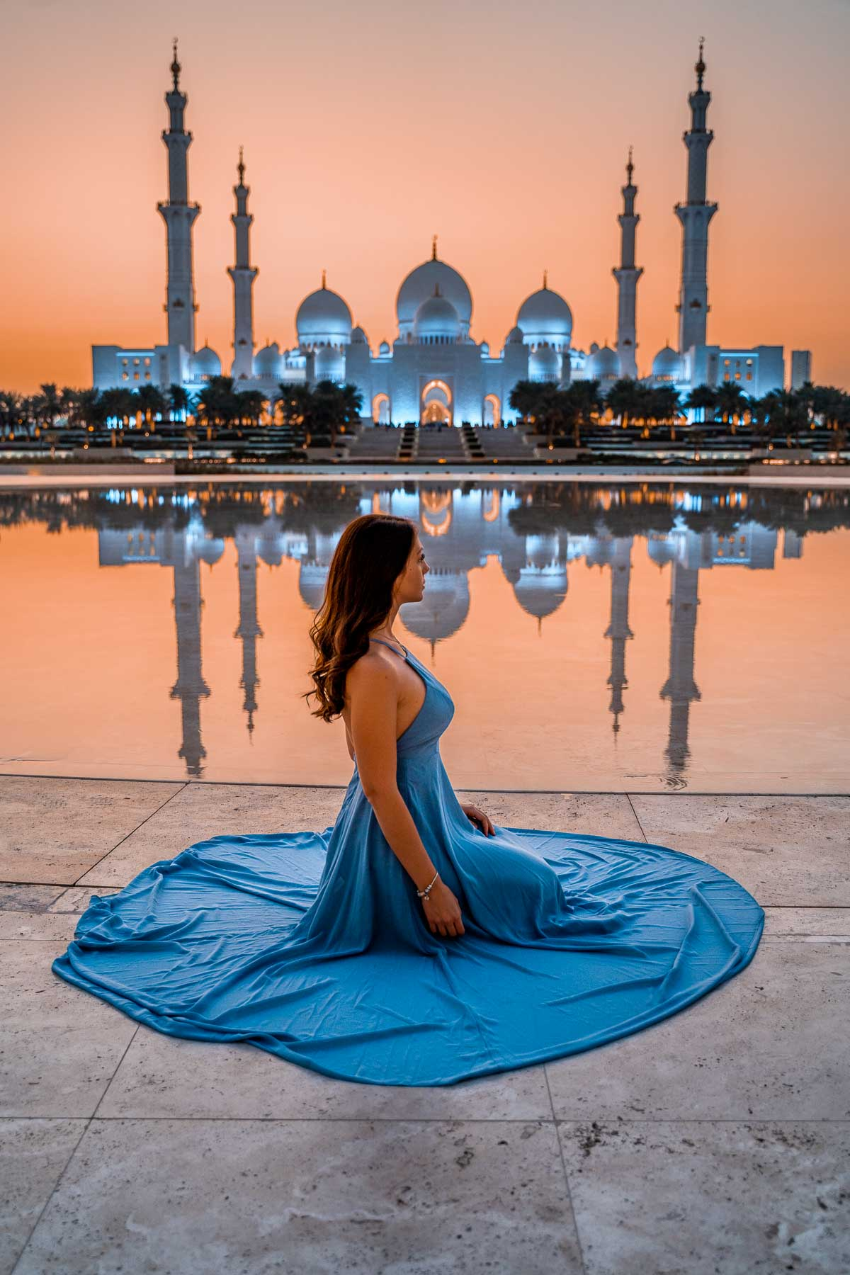 View of the Sheikh Zayed Grand Mosque at sunset from Wahat al Karama, one of the best Instagram spots in Abu Dhabi