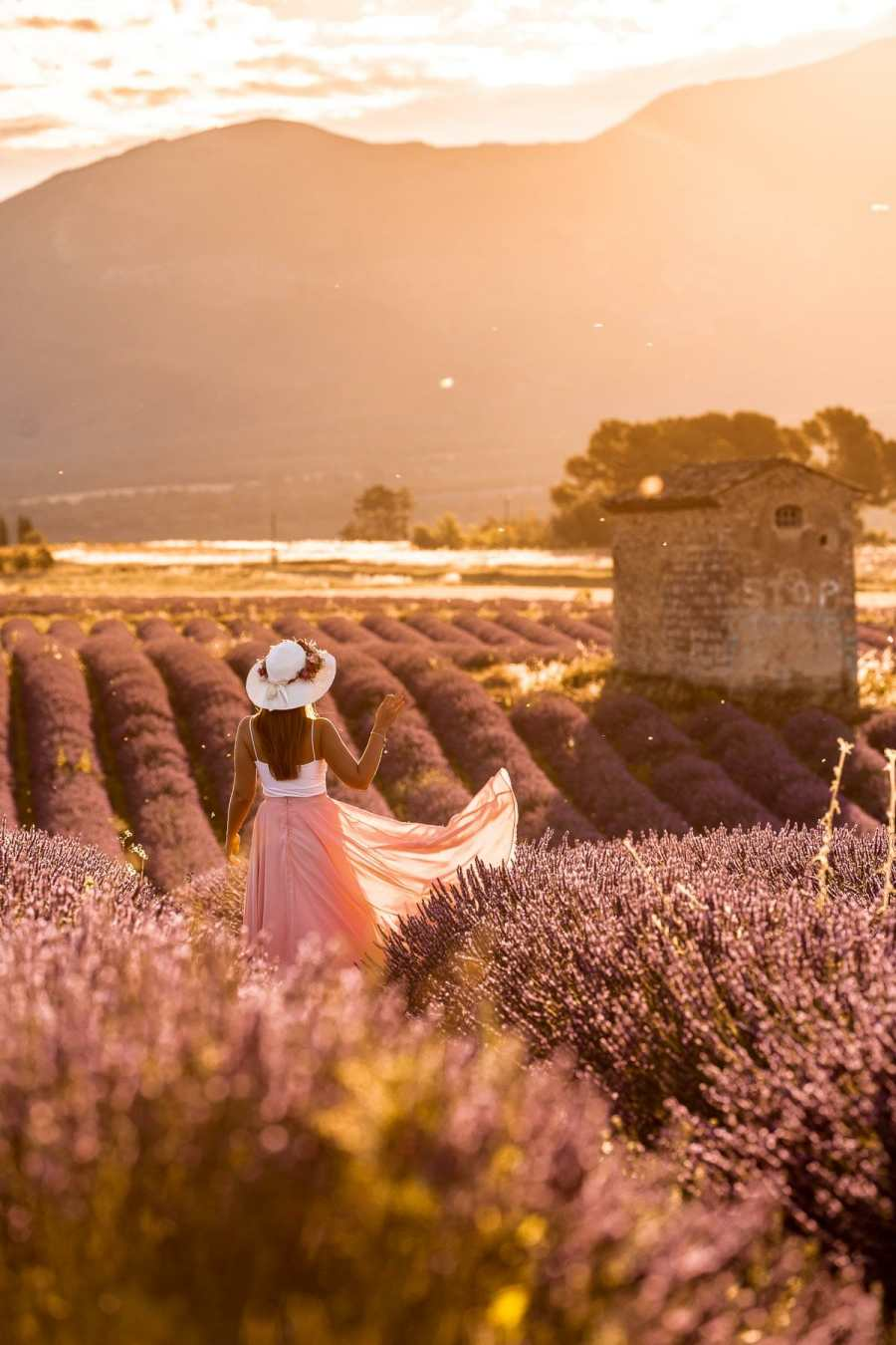 Girl in a pink skirt standing in the lavender fields in Provence at sunrise