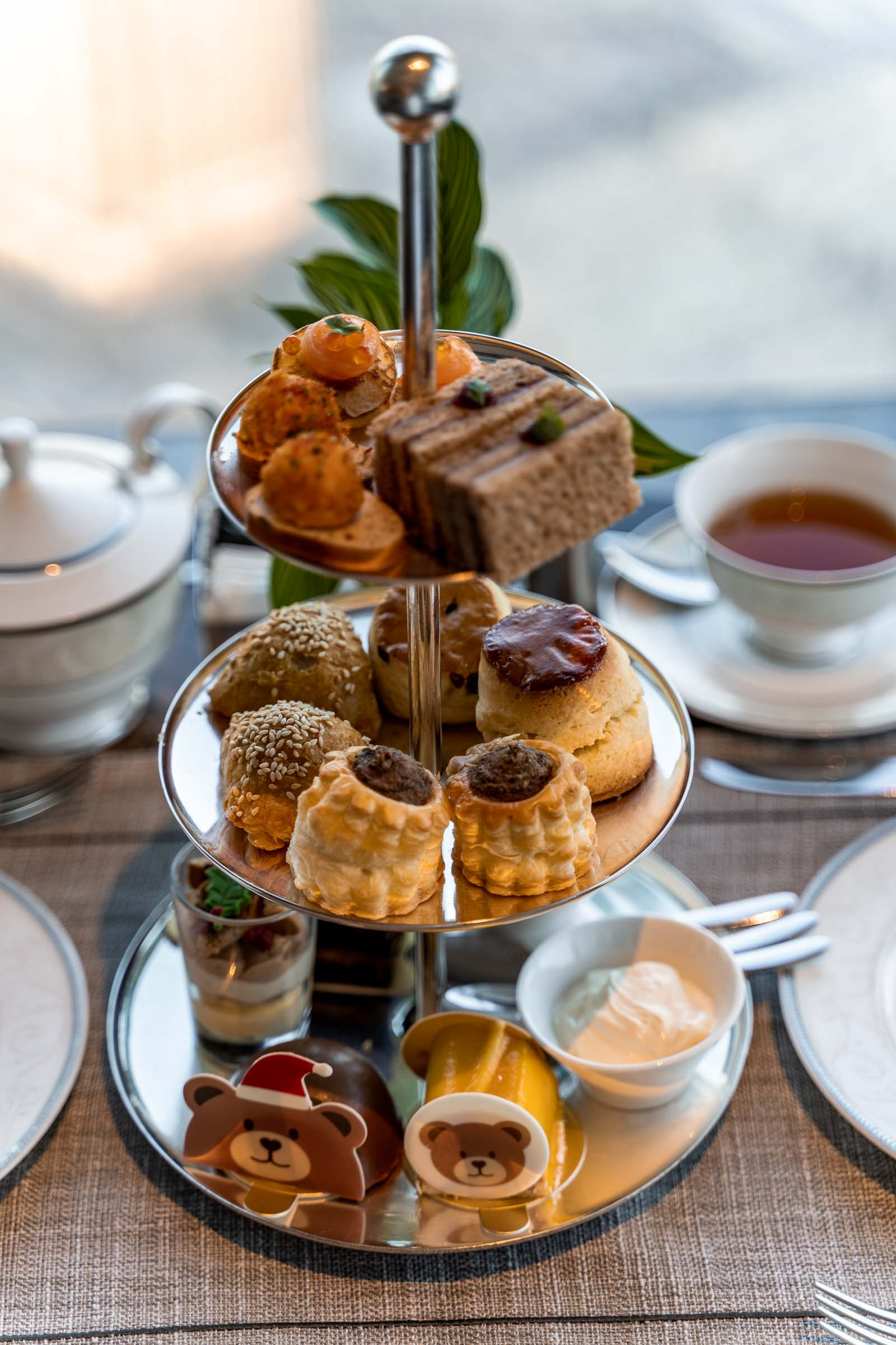 Afternoon tea with pastries and desserts
