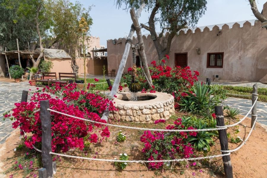 Ancient well in Emirates Heritage Village in Abu Dhabi