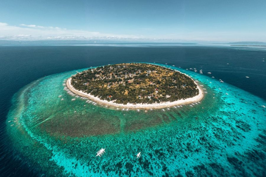Balicasag Island from an aerial view in the Philippines