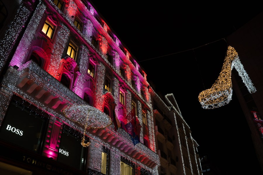 Christmas lights on Deák Ferenc Street in Budapest