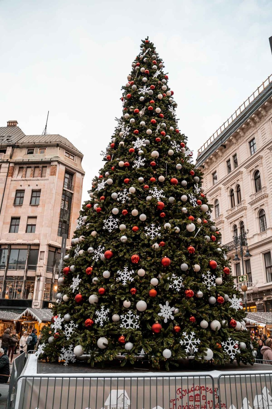Christmas tree at Vörösmarty square in Budapest