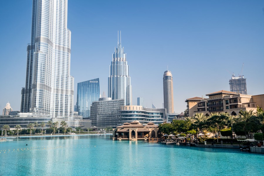 View of the Burj Khalifa and the skyscrapers at Dubai Downtown