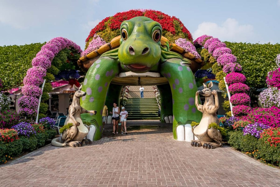 Turtle statue made of flowers at the Dubai Miracle Garden