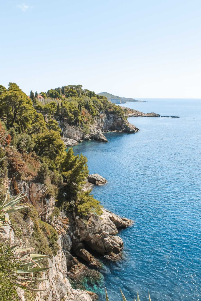 View of the blue coastline in Dubrovnik, Croatia