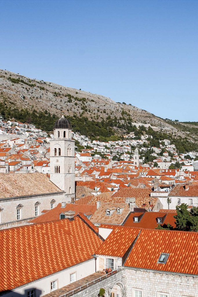 View of the orange roofs and a church in Dubrovnik, Croatia
