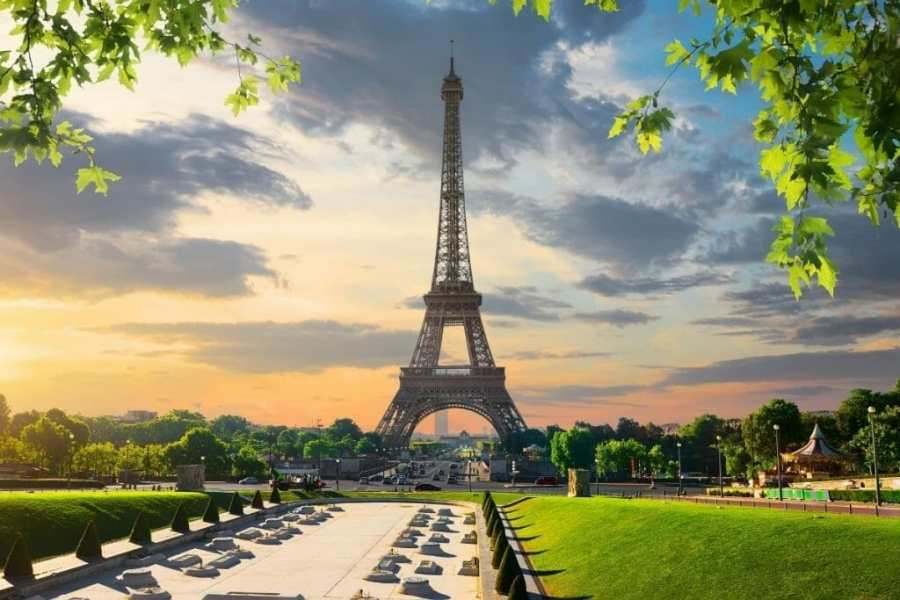 Eiffel Tower in Paris at sunset
