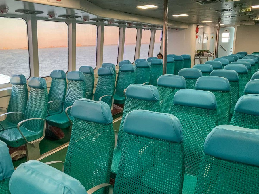 Blue seats in the ferry that goes between the Philippines islands
