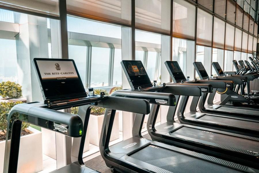 Running treadmills in the gym