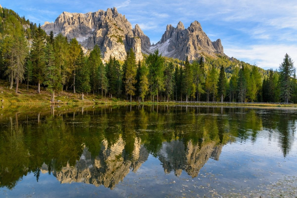 Beautiful reflection on Lago d'Antorno, one of the best lakes in the Dolomites