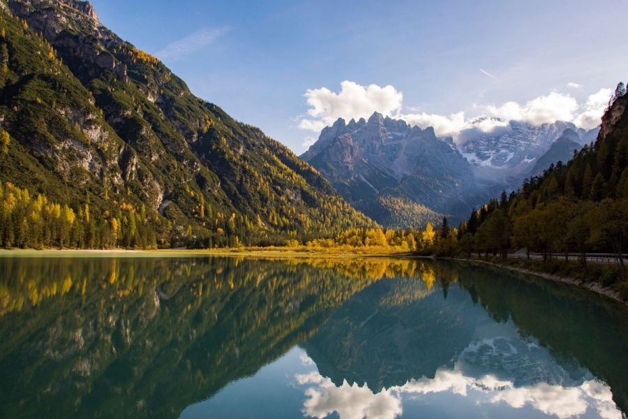Reflections on Lago di Landro, one of the best lakes to visit in the Dolomites