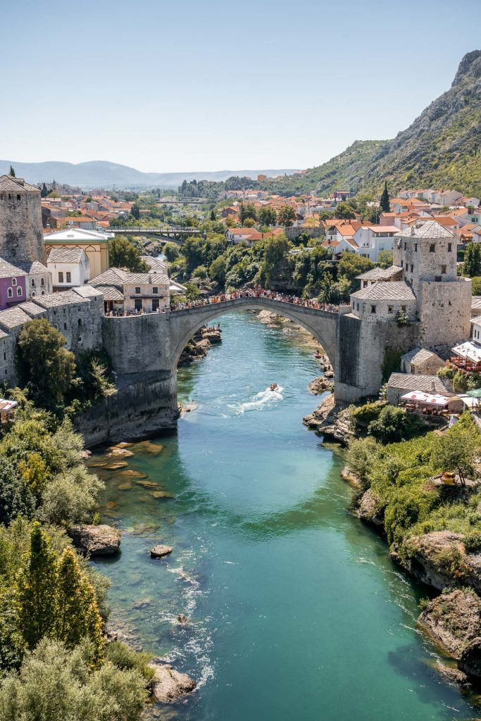 View of the Stari Most (Old Bridge) and the city of Mostar in Bosnia-Herzegovina