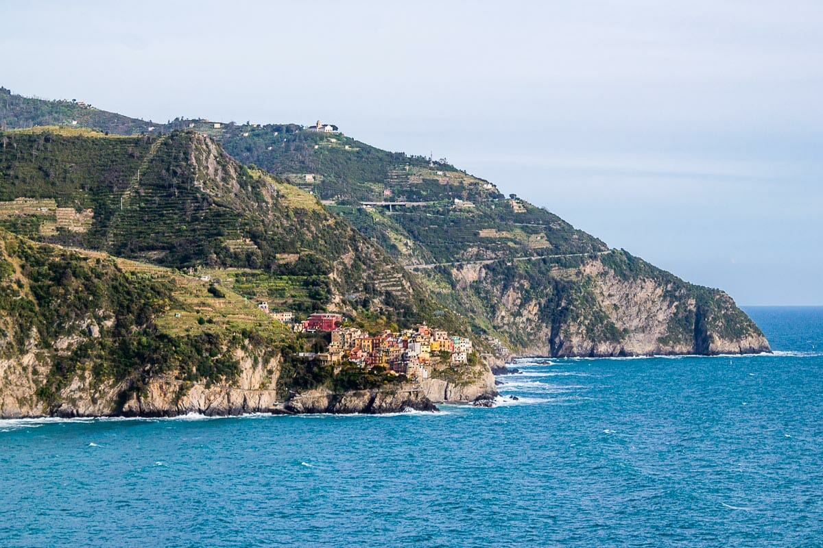 Panoramic view of Corniglia in the distance in Cinque Terre, Italy